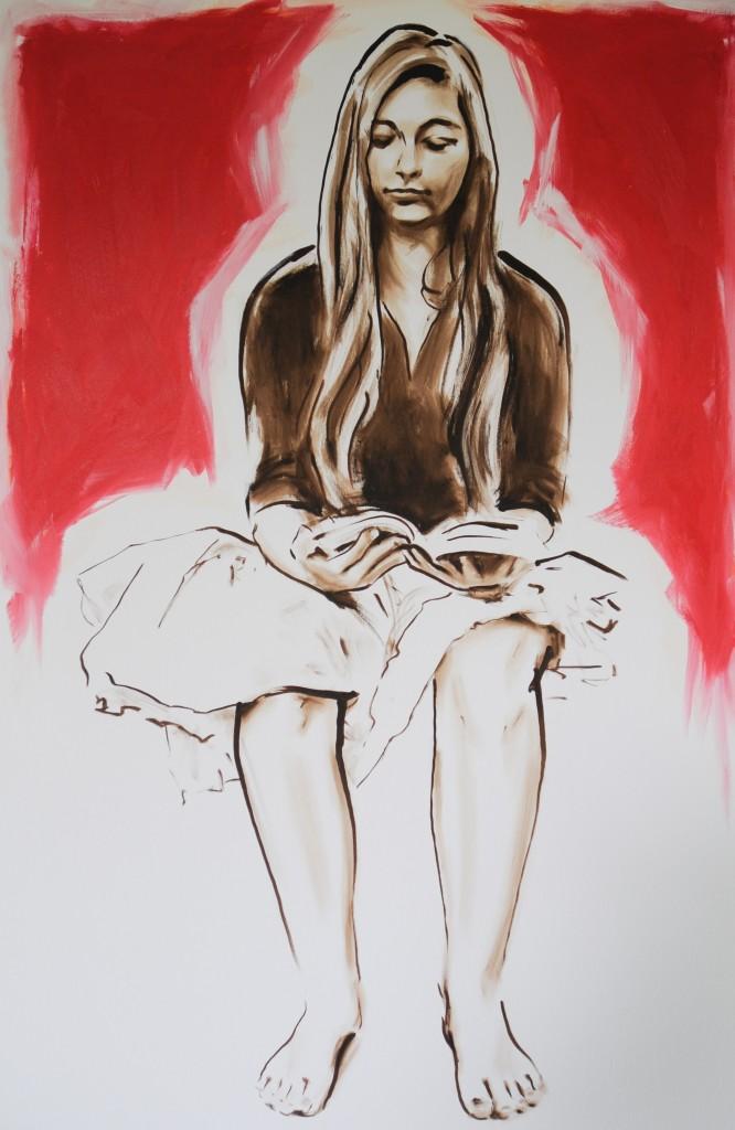 Lesende vor rotem Hintergrund