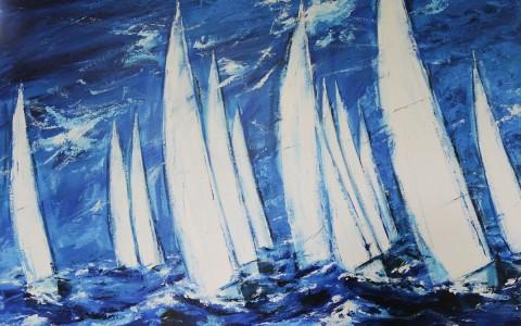 Segelschiffe in Blau