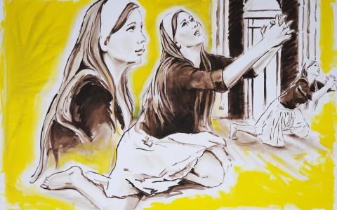Frauen in gelbem Raum
